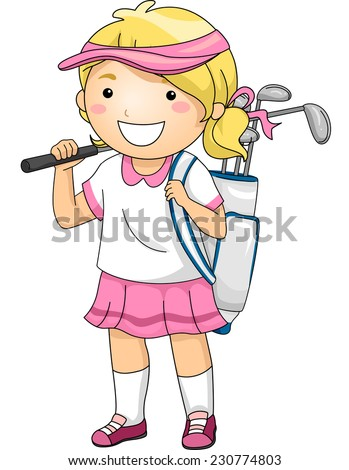 Illustration Featuring a Girl Wearing Golfing Gear - stock vector
