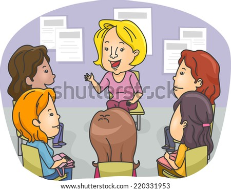 Illustration Featuring a Group of Women Attending a Counseling Session - stock vector