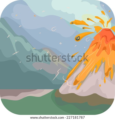 Illustration Featuring an Erupting Volcano - stock vector
