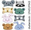 Illustration Featuring Cute Animal Hats - stock vector