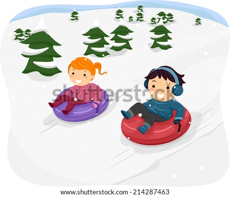 Illustration Featuring Kids Riding Snow Tubes - stock vector