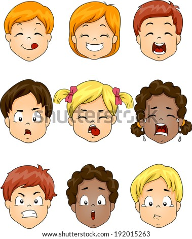 Illustration Featuring Kids Showing Different Facial Expressions - stock vector