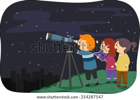 Illustration Featuring Kids Stargazing - stock vector