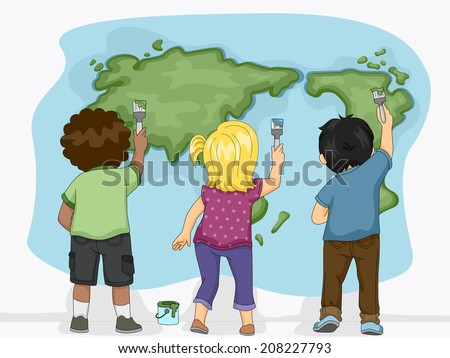 Illustration Featuring Little Kids Painting a Map of the Earth - stock vector