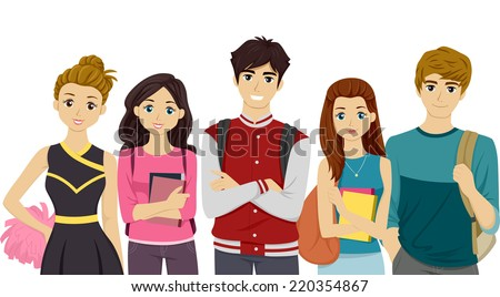 Illustration Featuring Students Representing Different College Cliques - stock vector
