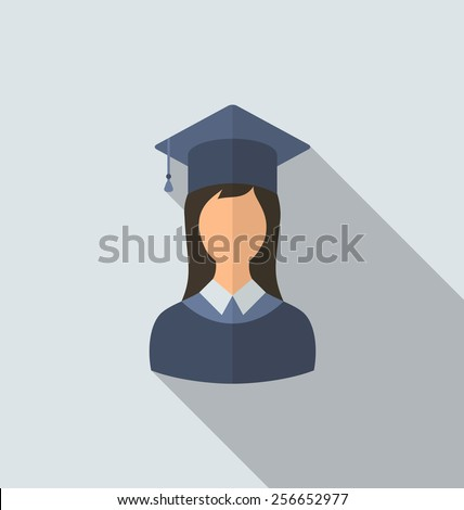 Illustration flat icon of female graduate in graduation hat, minimal style with long shadow - vector - stock vector