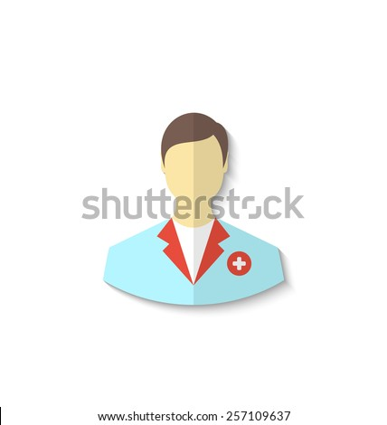 Illustration flat icon of medical doctor with shadow isolated on white background - vector - stock vector
