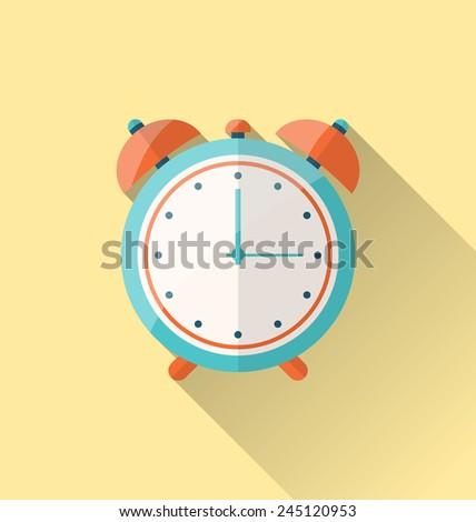 Illustration flat icon of retro alarm-clock with long shadow - vector - stock vector