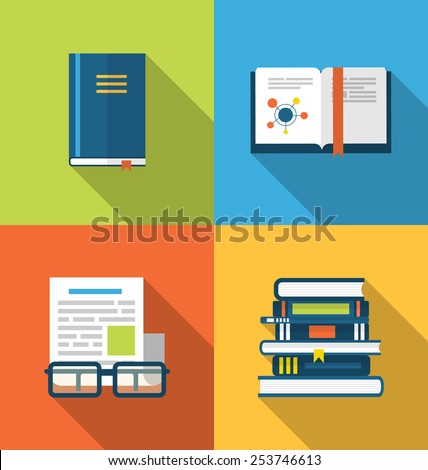 Illustration flat icons design of handbooks, books and publish documents, long shadow style - vector - stock vector