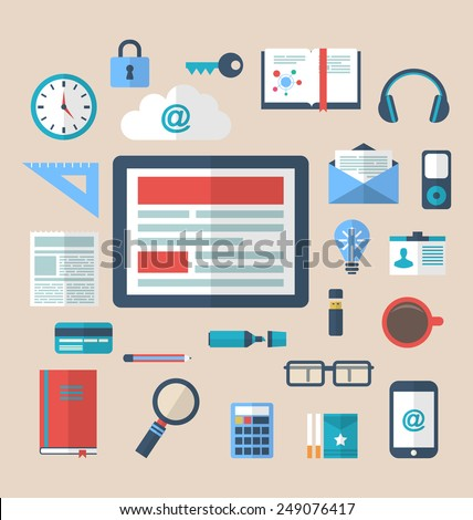 Illustration flat icons of trendy everyday objects, office supplies and business items for daily usage - vector - stock vector