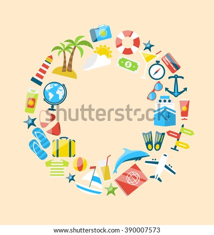 Illustration Flat Modern Design Collection Icons of Travel on Holiday Journey, Planning Summer Vacation, Tourism Objects and Equipment - Vector - stock vector