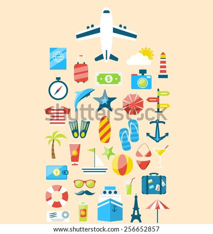 Illustration flat modern design set icons of travel on holiday journey, tourism objects and equipment - vector - stock vector