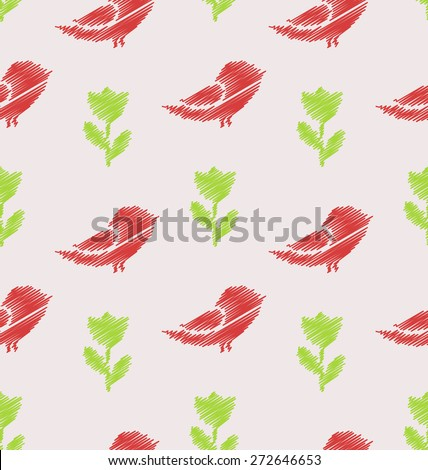 Illustration Floral Seamless Pattern with Abstract Birds and Flowers, Vintage Background - Vector - stock vector