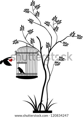 illustration flying birds that bring love to the bird in the cage - stock vector