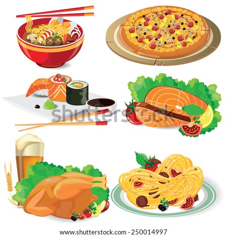 illustration food on white,vector  - stock vector
