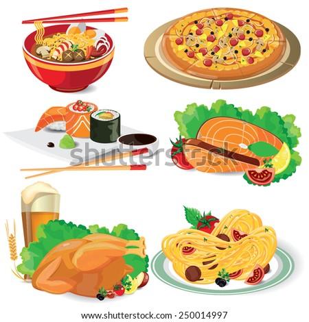 illustration food on white,vector  - stock vector