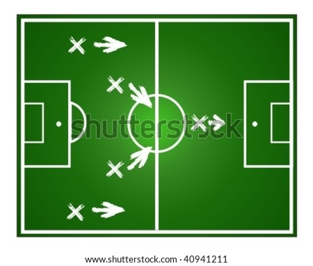 Illustration football game. Teamwork strategy. - stock vector