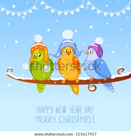 illustration for Christmas and New Year fun three birds sitting on a branch - stock vector