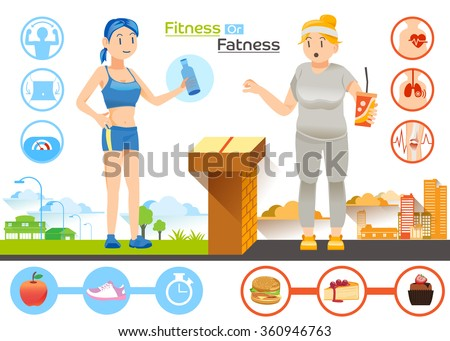 Illustration for Diet and Health concept Graphic design .The choice women between Slim or Fat. - stock vector