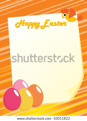 illustration for greeting card with colorful egg pattern - stock vector
