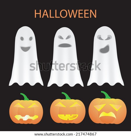 Illustration For Halloween With Pumpkins And Ghost - stock vector