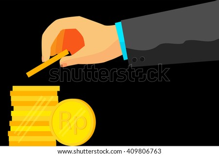 illustration for man invest his money (golden rupiah coin)  - stock vector