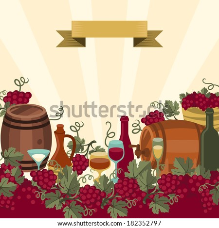 Illustration for wine, wineries and restaurants. - stock vector