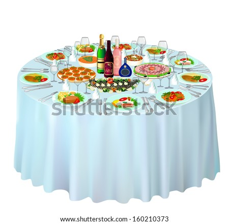 illustration gala buffet served on white - stock vector