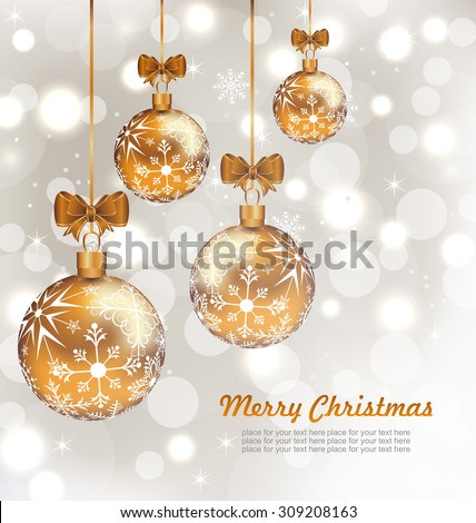Illustration Glowing Celebration Card with set Christmas balls - Vector - stock vector