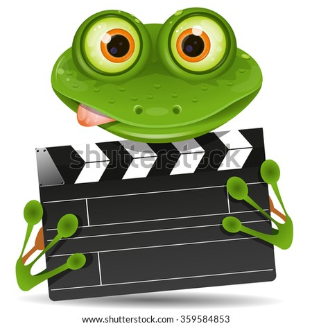 Illustration green frog with a movie clapper - stock vector