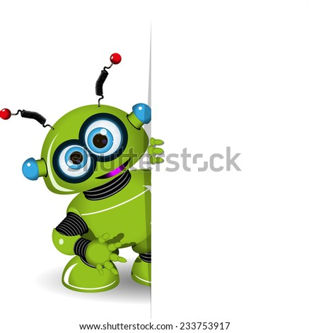 Illustration green robot and white background - stock vector