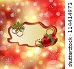 Illustration greeting elegant card with mistletoe and Christmas ball - vector - stock vector
