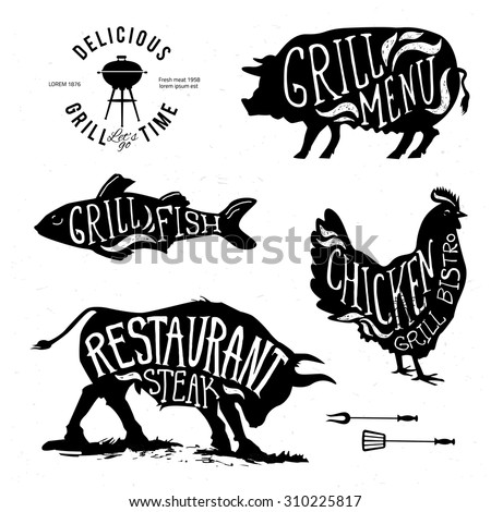 Illustration Grill Menu Labels Set of in Flat Design Style eps10 - stock vector