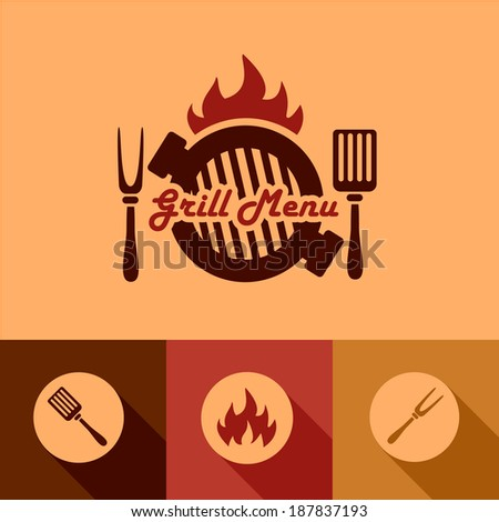 Illustration Grill Menu of in Flat Design Style. - stock vector