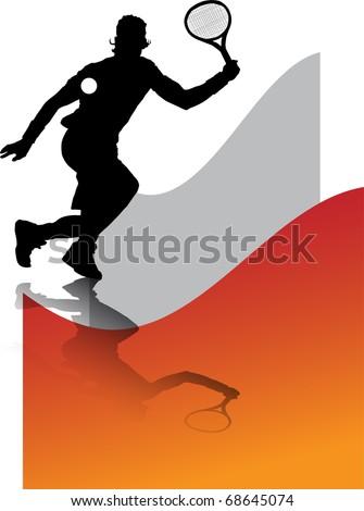 illustration has more than enough bottom orange, of man playing tennis - stock vector