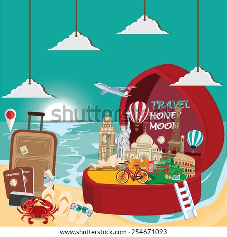 illustration. honey moon and travel  the world - stock vector