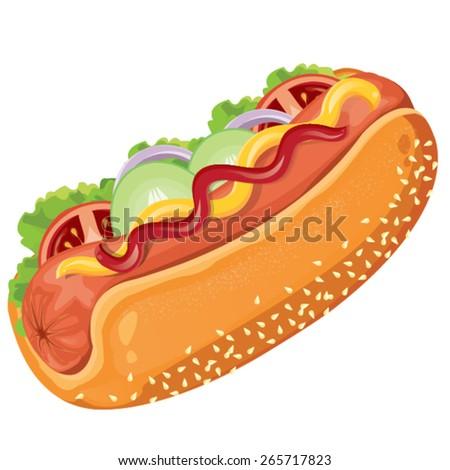 illustration.  hotdog on white background - stock vector