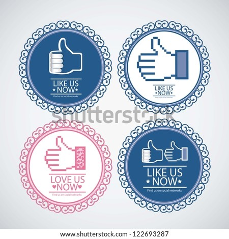 Illustration icon social networks, like us Icons, vector illustration - stock vector