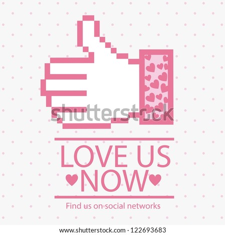 Illustration icon social networks, like us  or love us Icons, vector illustration - stock vector
