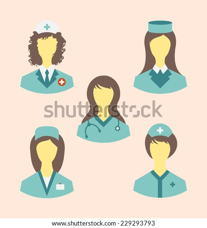 Illustration icons set of medical nurses in modern flat design style - vector - stock vector