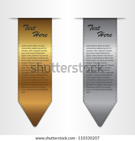 Illustration image of various vector gold and silver bookmarks isolated on a white background. - stock vector