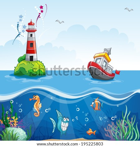 illustration in cartoon style of a ship at sea and fun fish - stock vector