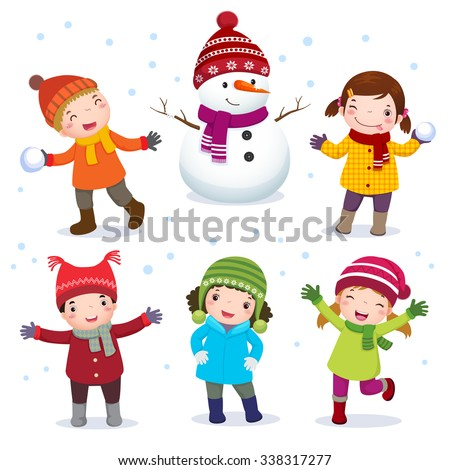 Illustration in collection of kids with snowman in winter costume - stock vector