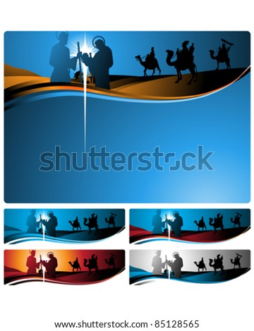 Illustration in different formats, horizontal banner format and horizontal letter format. They represent the nativity scene with the three wise men. - stock vector
