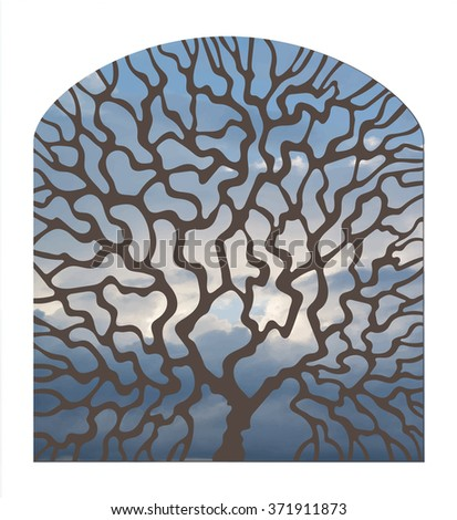 Illustration in stained glass style window view with a tree against the sky - stock vector