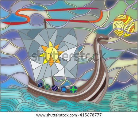 Illustration in stained glass style with antique ship against the sea, sky and sun - stock vector