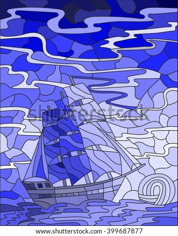Illustration in stained glass style with sailboats against the sky, the sea and the sunrise,blue gamma - stock vector