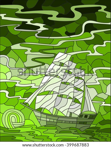 Illustration in stained glass style with sailboats against the sky, the sea and the sunrise, green gamma - stock vector