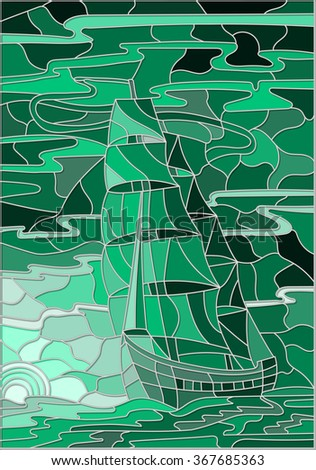 Illustration in stained glass style with the sailboat against the sky, the sea and the setting sun.Green version - stock vector