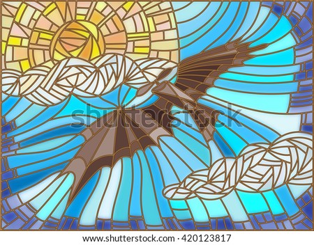 Illustration in stained glass style with vintage aircraft in the sky, clouds and sun - stock vector